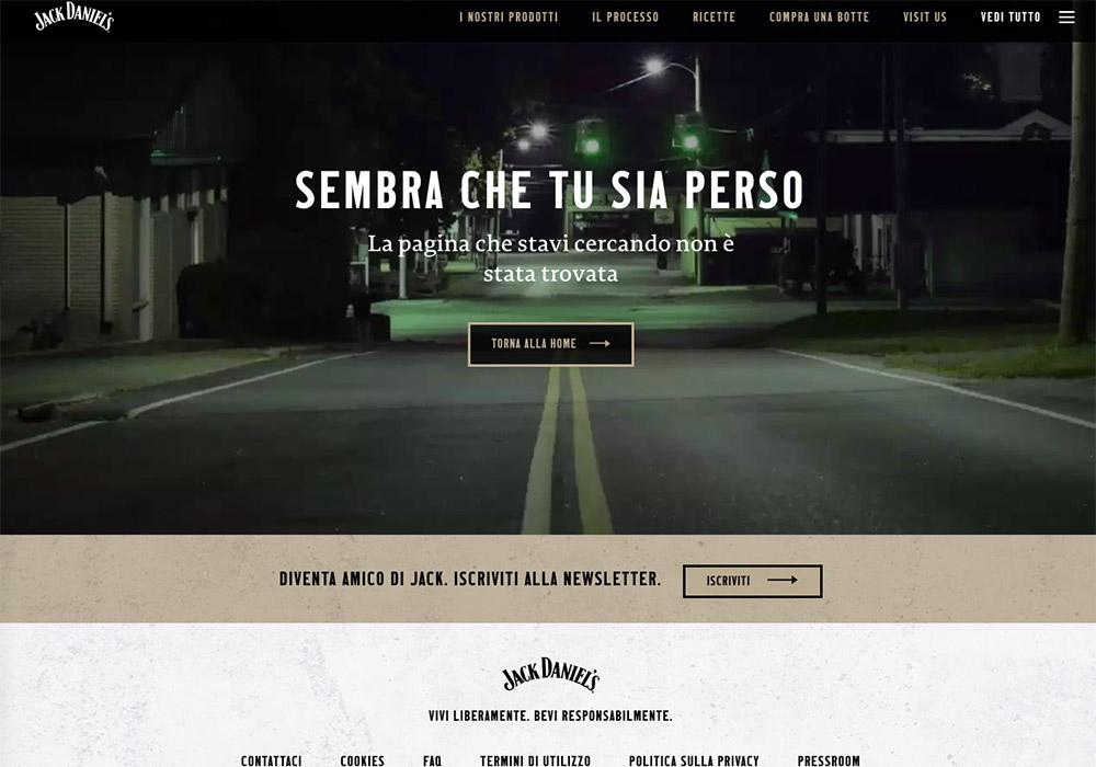 10 esempi di pagina errore 404 - jack daniel's