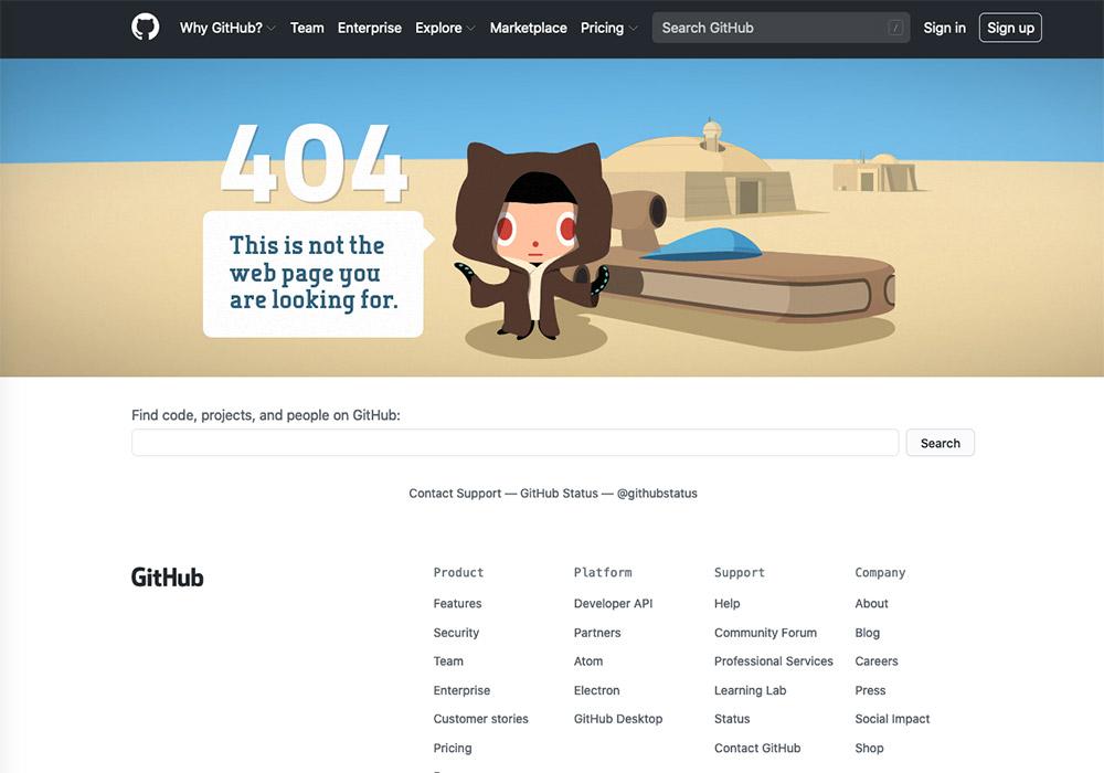 10 esempi di pagina errore 404 - github