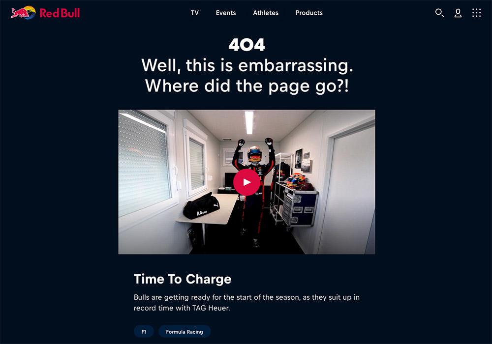 10 esempi di pagina errore 404 - red bull