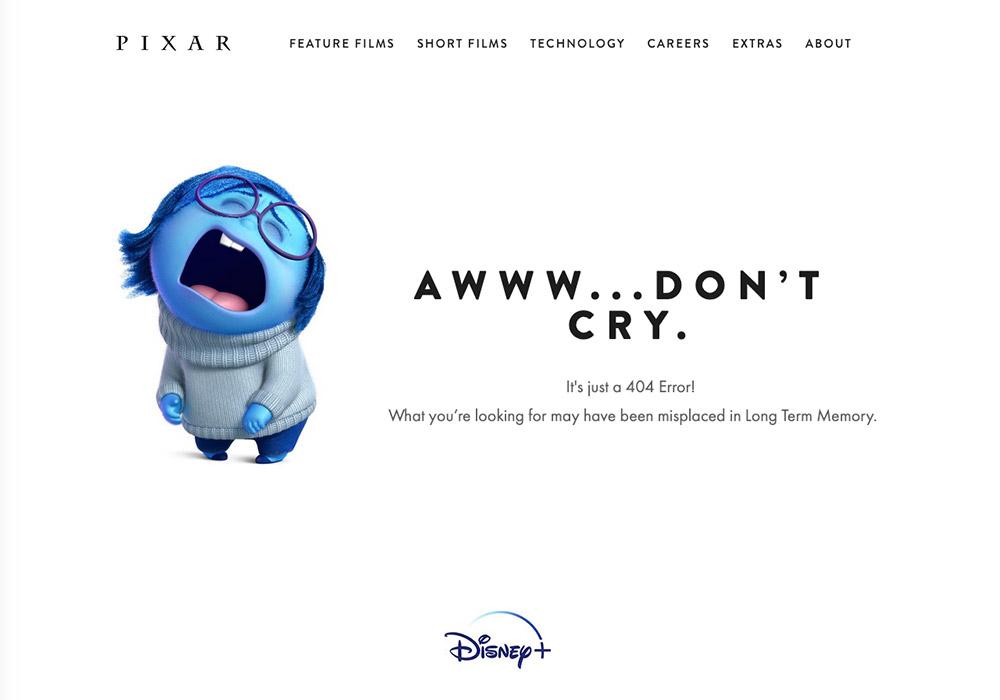10 esempi di pagina errore 404 - pixar