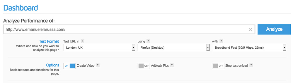 gtmetrix analizza performance sito web opzioni analisi