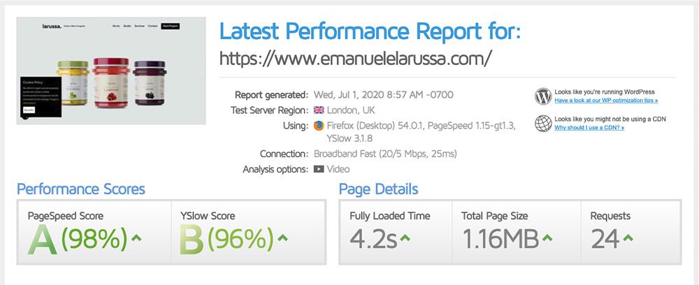gtmetrix analizza performance sito web risultato analisi